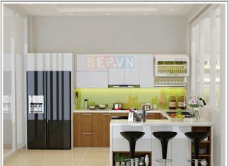 Mẫu tủ bếp Acrylic và Laminate chữ U gia đình anh Thắng Thịnh Liệt