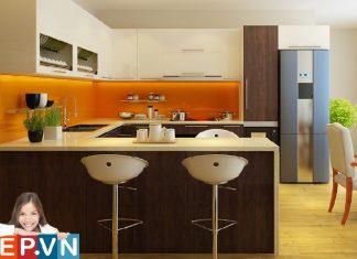 Tủ bếp Acrylic chữ U màu sắc bắt mắt gia đình anh Bình royal