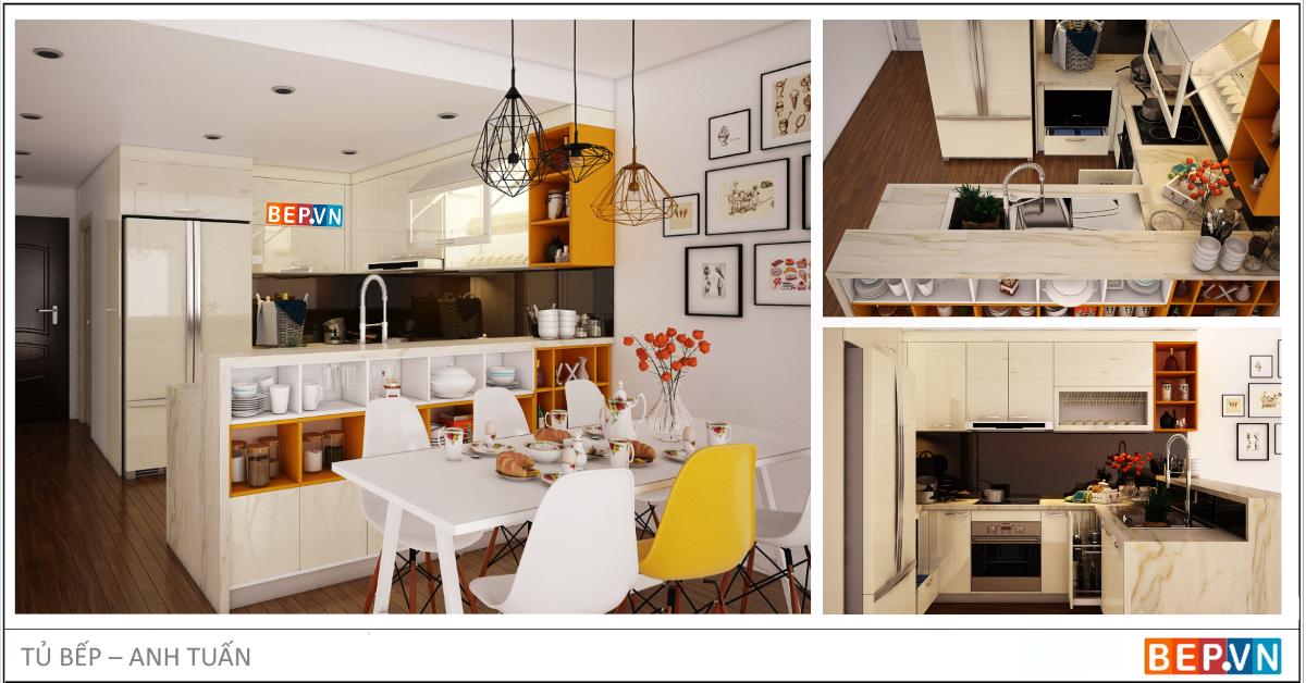 Tủ bếp Acrylic chữ U màu vàng gia đình anh Tuấn