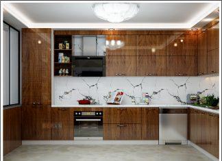 Tủ bếp chữ G gia đình chú Bình