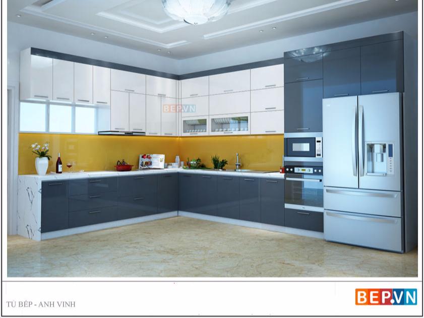 tủ bếp acrylic chữ L anh Vinh