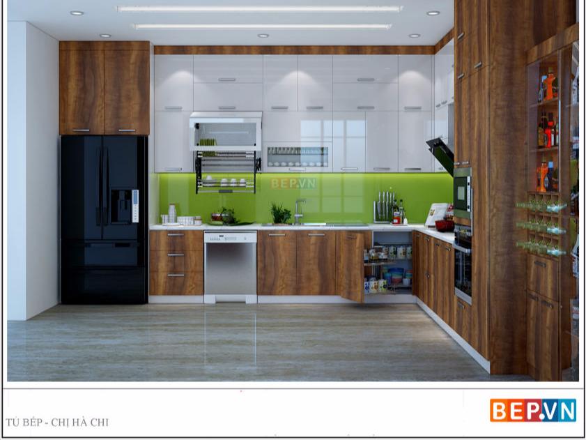 Tủ bếp Laminate acrylic chữ L chị Hà chi