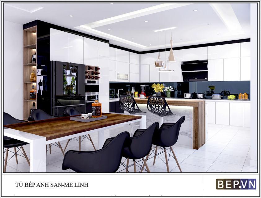 Thiết kế tủ bếp hiện đại nhà anh San