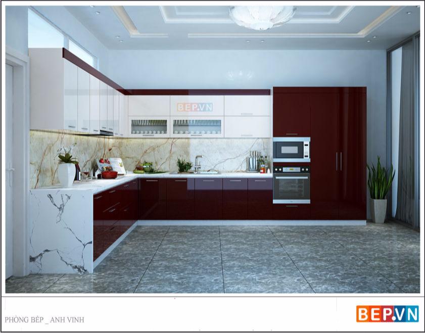 Tủ bếp Acrylic anh Vinh - Lào cai