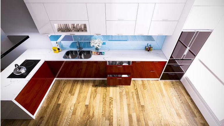 Tủ bếp Acrylic chú Nội - Tây hồ