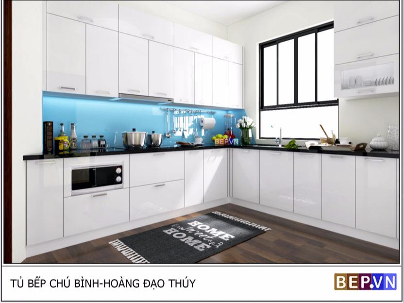 tủ bếp acrylic chữ L chú Bình hoàng đạo thúy