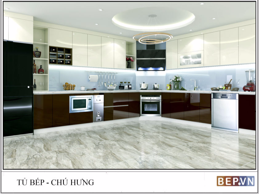 Tủ bếp Acrylic chữ L chú Hưng