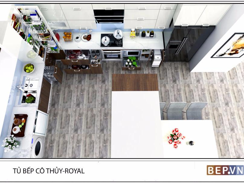 Tủ bếp Acrylic chữ L cô Thủy Royal