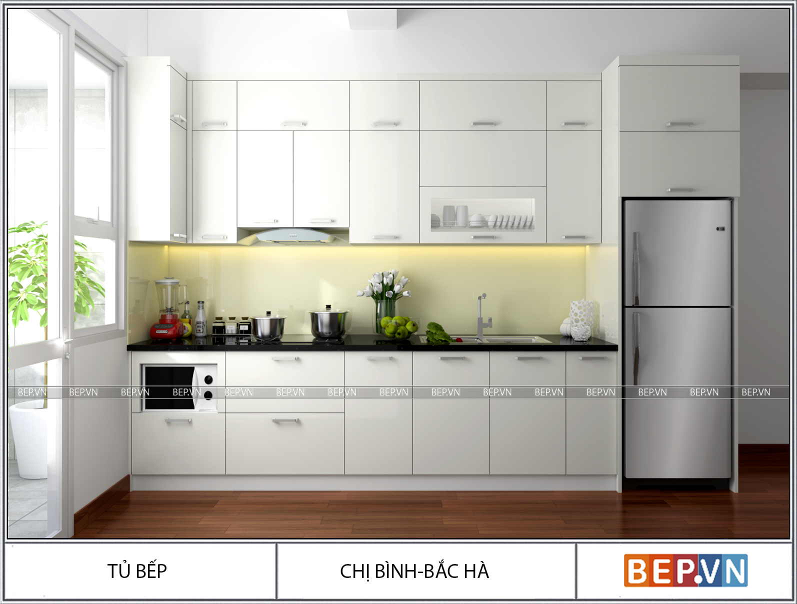 Màu sắc nhà bếp phổ biến hợp phong thủy.