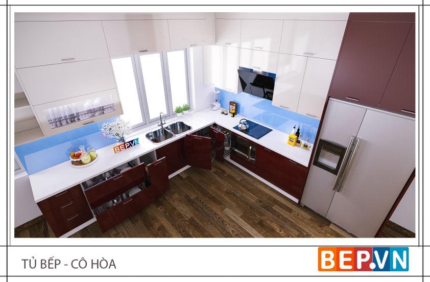 Mẫu tủ bếp Acrylic chữ L màu rượu vang gia đình cô Hòa.