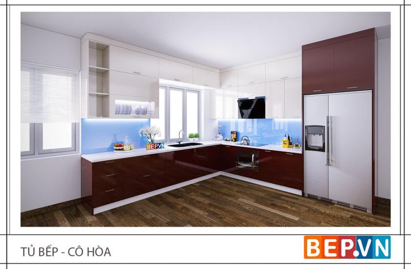 Tủ bếp acrylic nhà cô Hòa
