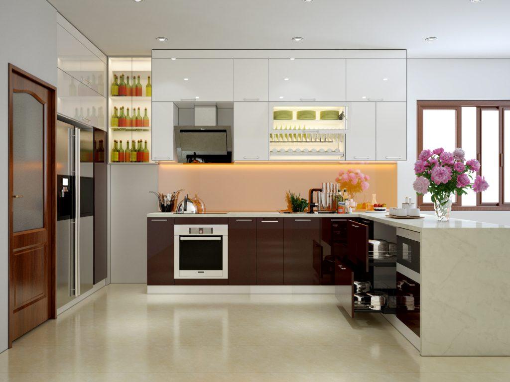 Thiết kế tủ bếp Acrylic rẻ nhẹ túi tiền cho mọi gia đình.