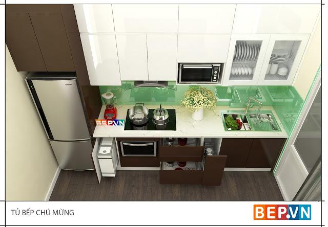 Mẫu tủ bếp đẹp theo phong cách tối giản thu hút gia đình chú Mừng