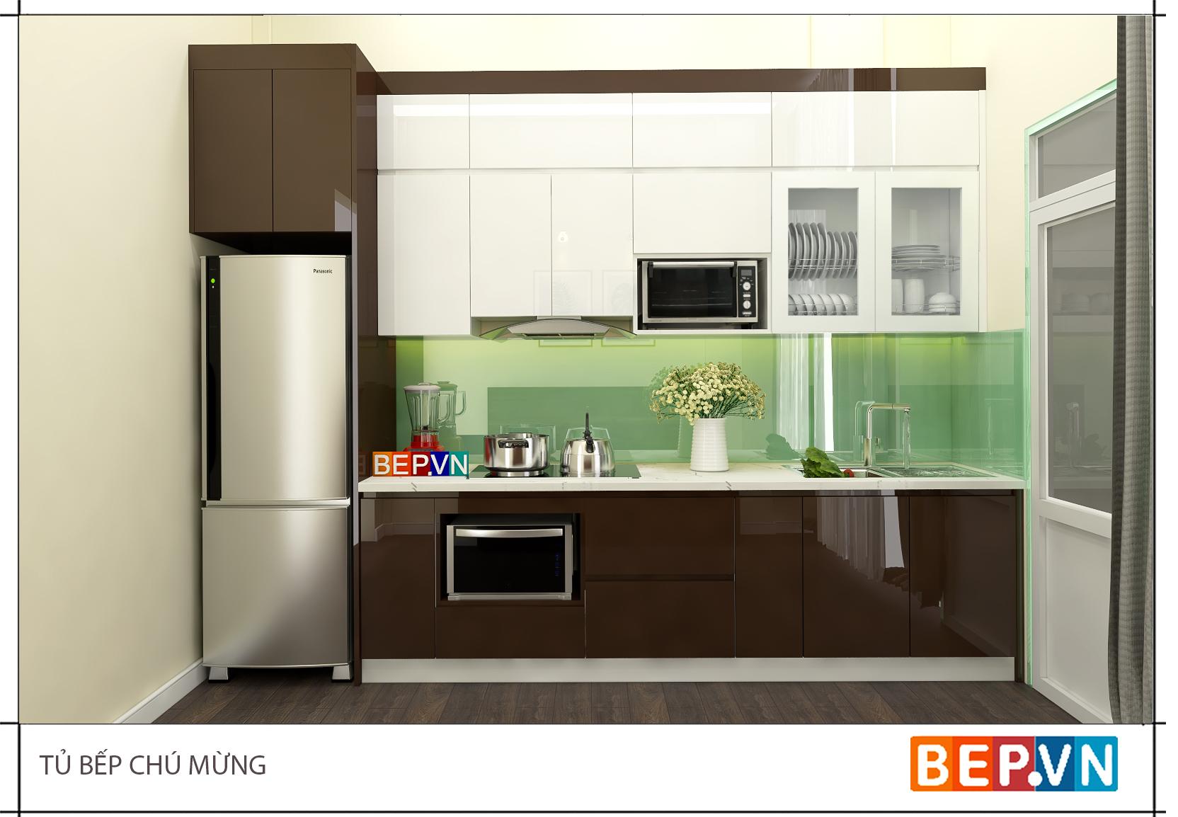 Mẫu tủ bếp gỗ công nghiệp Acrylic theo đường thẳng với nhiều ưu điểm nổi bật.