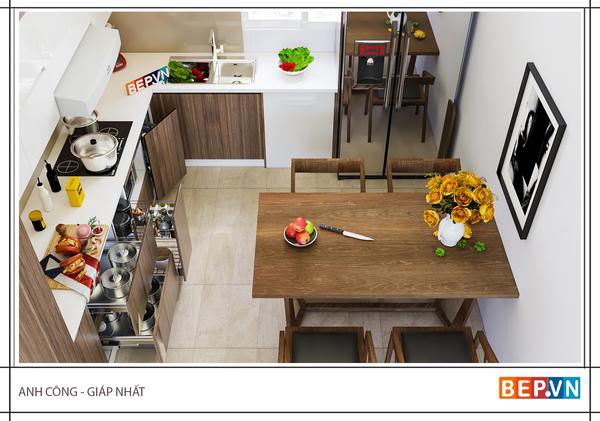 Tủ bếp Acrylic chữ L anh Công - Giáp nhất