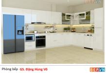 Thiết kế tủ bếp Acrylic hiện đại gia đình chú Võ