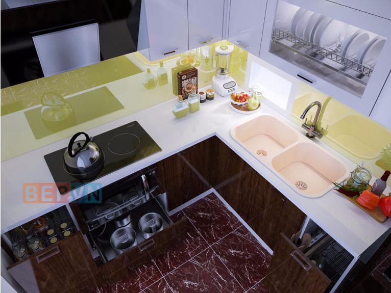 tủ bếp acrylic chữ L anh Tuấn