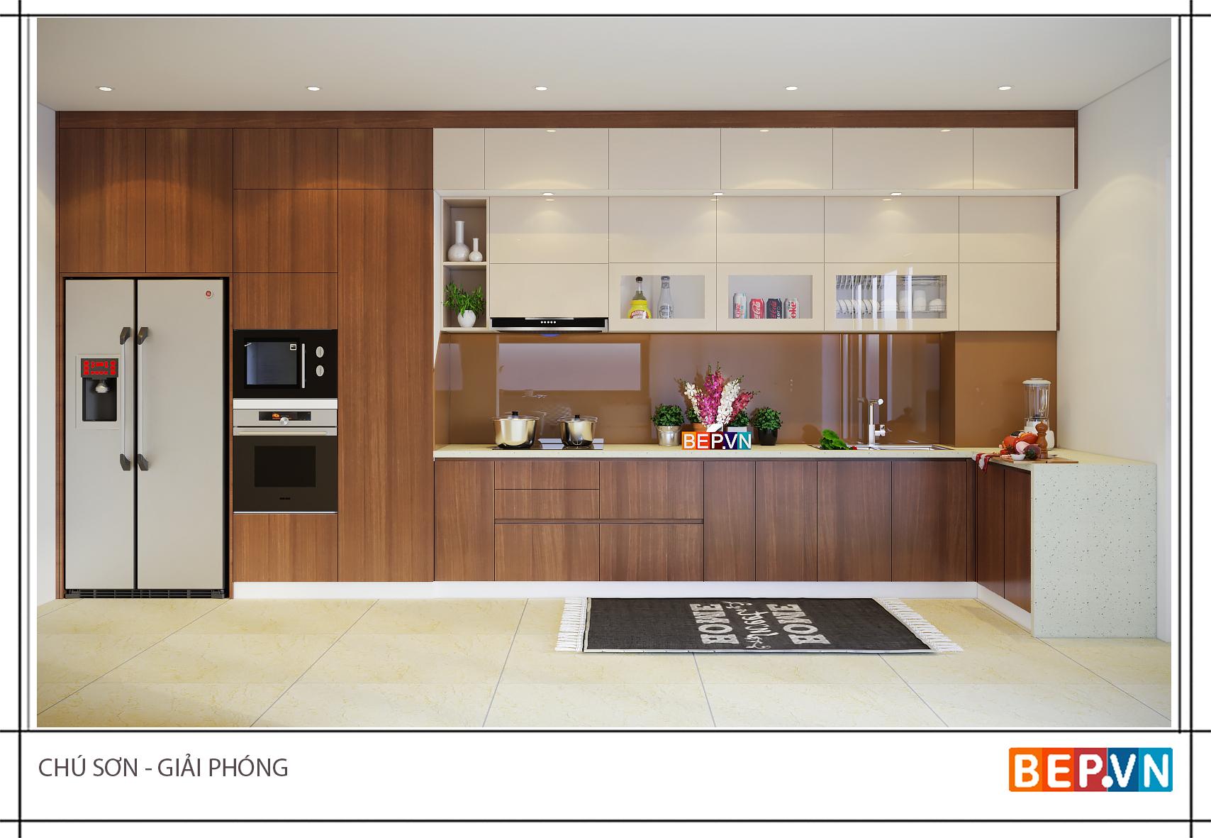 Thiết kế tủ bếp đẹp hiện đại gia đình chú Sơn