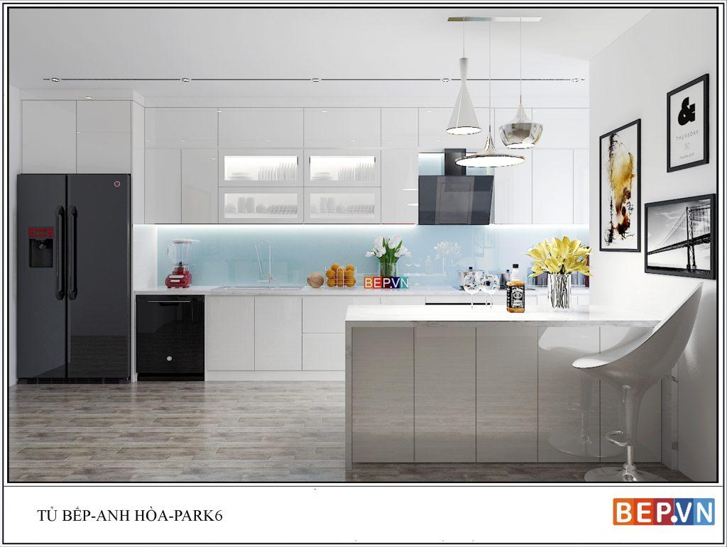 Thiết kế tủ bếp Acrylic -sáng bóng,sạch sẽ gia đình anh Hòa