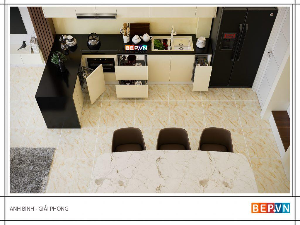 Thiết kế tủ bếp chữ L gia đình anh Bình kết hợp quầy Bar nhằm tận dụng không gian và gia tăng tính thẩm mỹ