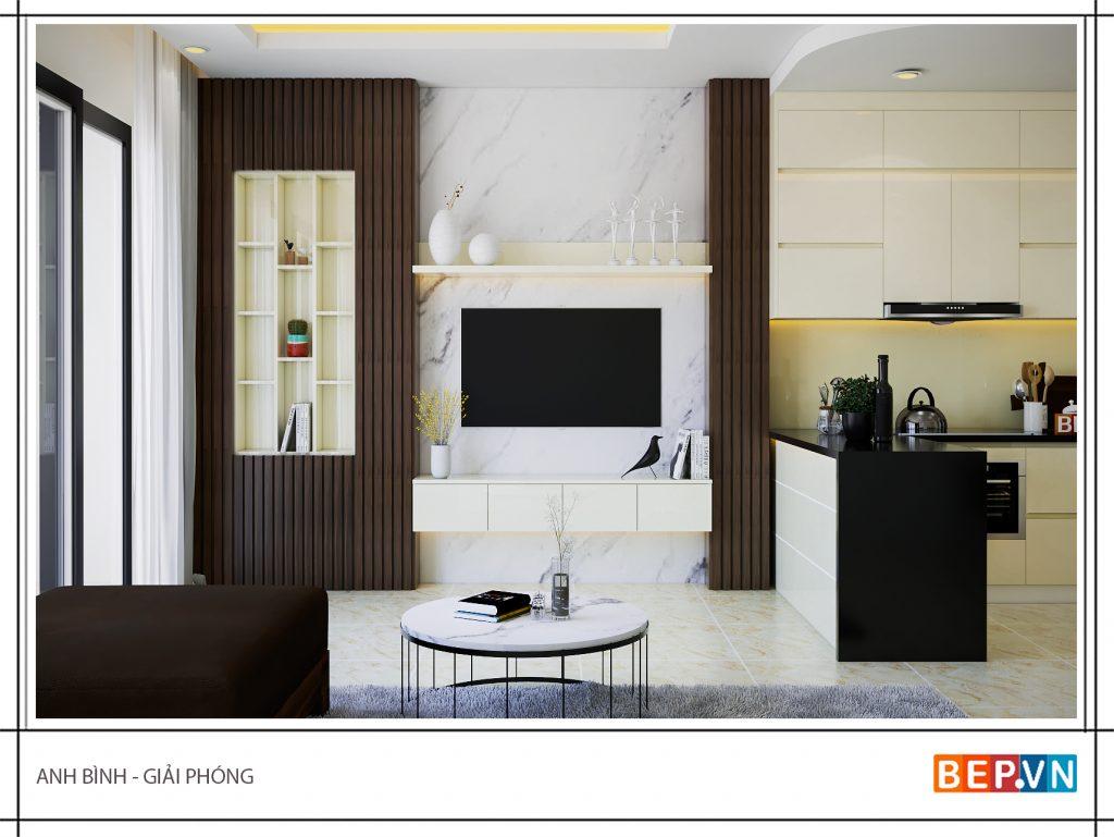 Không gian bếp phù hợp với tổng thể không gian toàn bộ ngôi nhà.