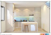 Thiết kế tủ bếp chữ L gia đình chú Quảng
