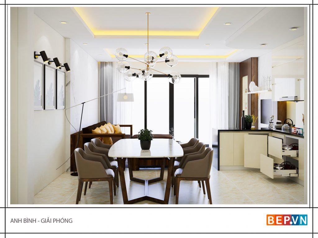 Thiết kế tủ bếp chữ L hiện đại gia đình anh Bình.