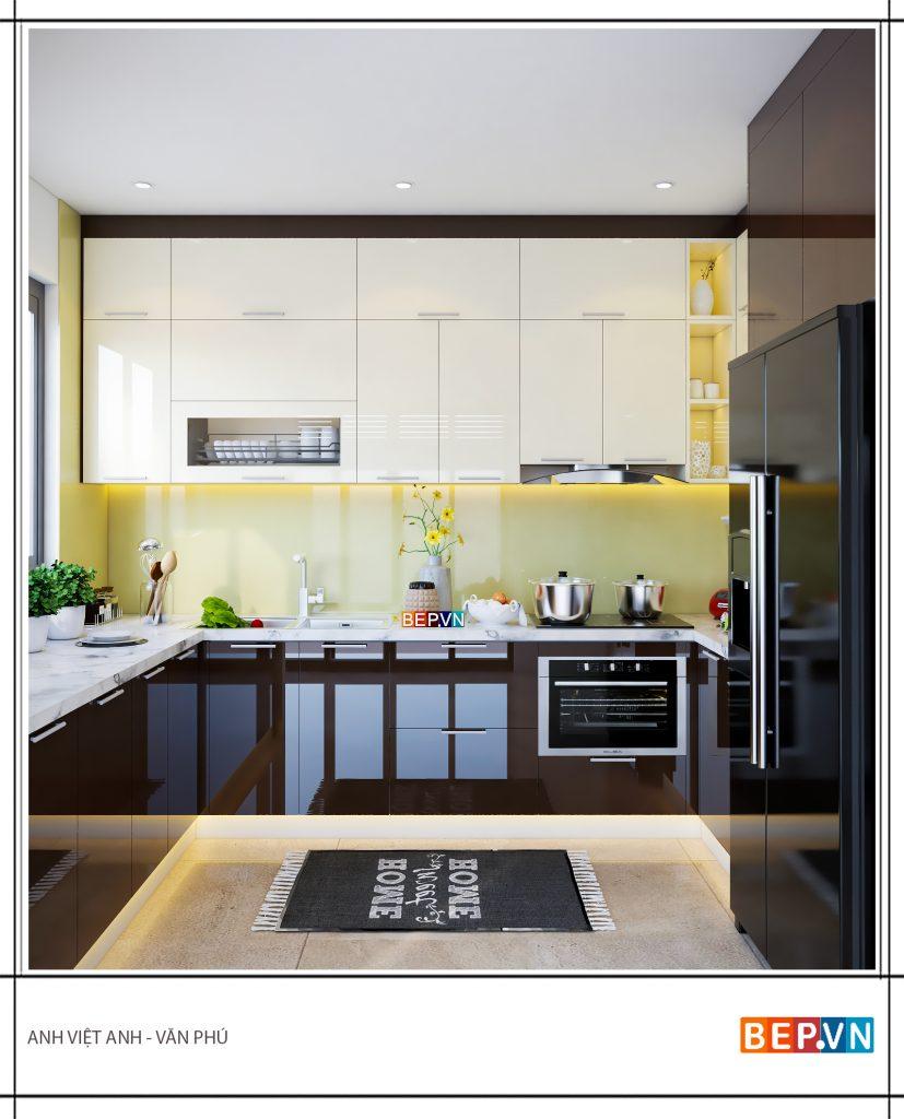Thiết kế tủ bếp chữ U hiện đại gia đình anh Việt Anh