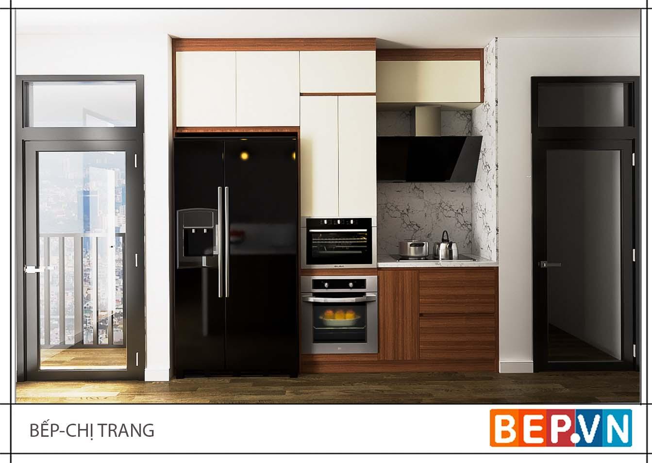 Thiết kế tủ bếp Laminate gia đình chị Trang.