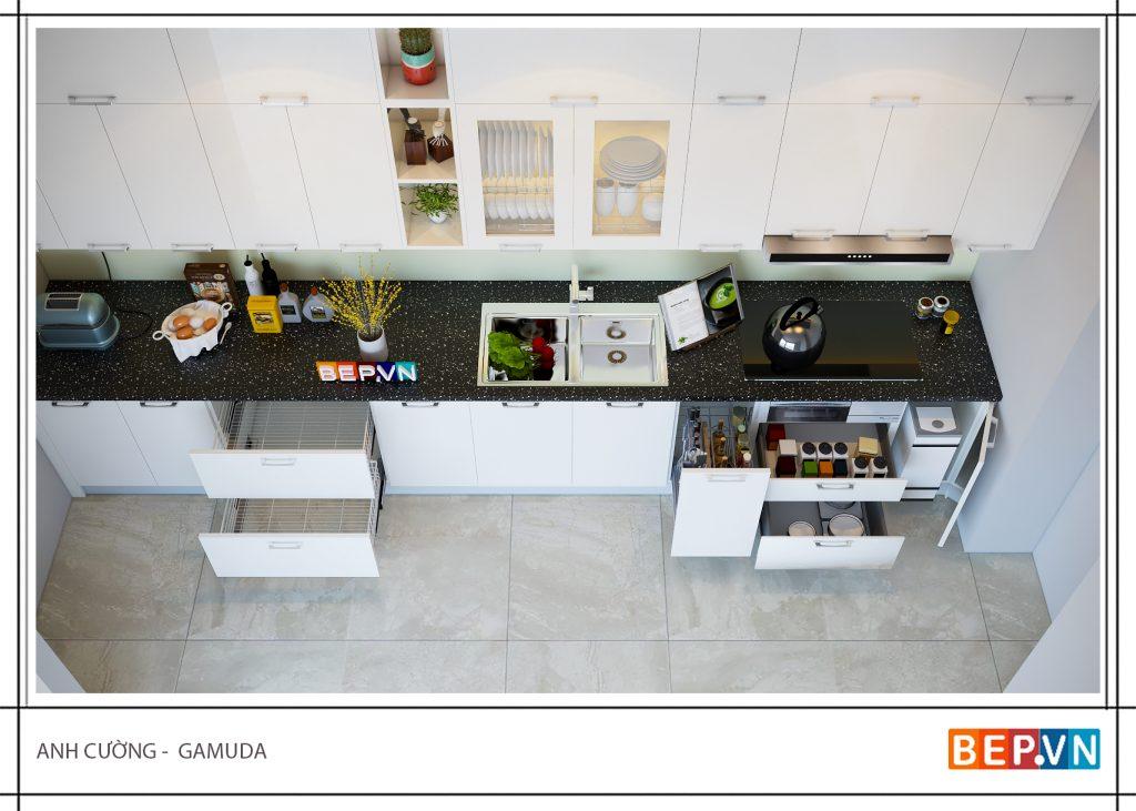Thiết kế tủ bếp thẳng gia đình anh Cường Gamuda