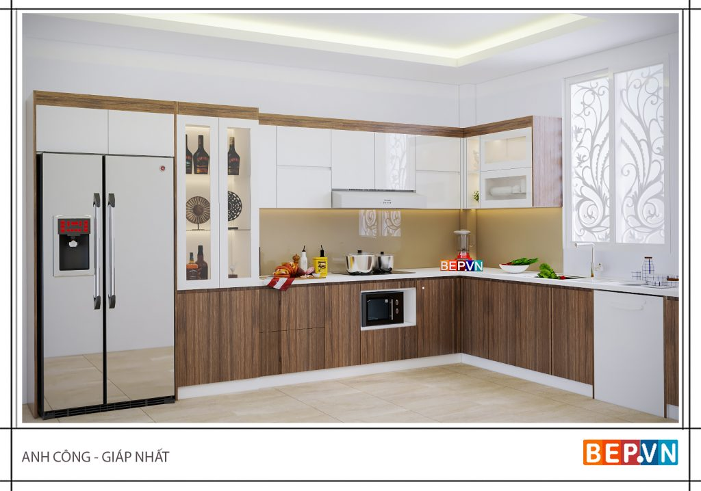 Thiết kế tủ bếp đẹp hiện đại gia đình anh Công