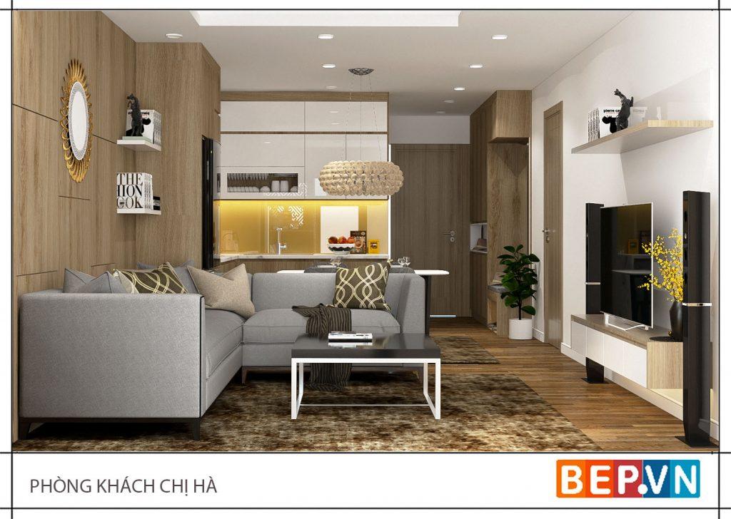Thiết kế tủ bếp chữ L gia đình chị Hạnh sử dụng phù hợp với tổng thể không gian ngôi nhà.