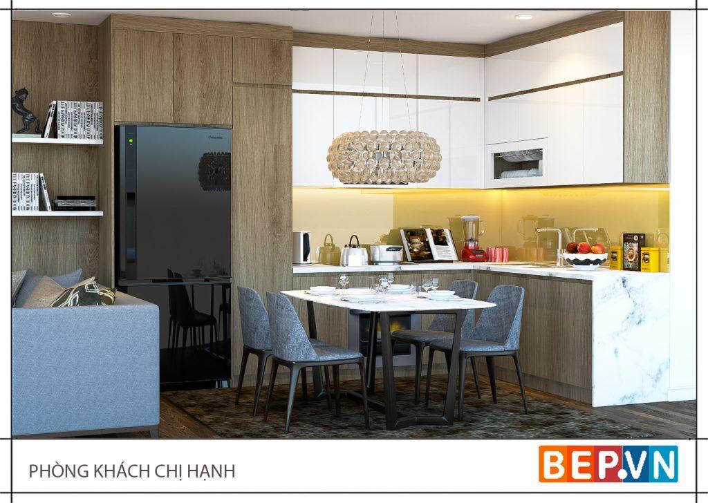 Lựa chọn thiết kế tủ bếp chữ L là lựa chọn hàng đầu cho những không gian phòng bếp gắn liền với phòng khách