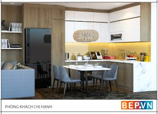 Thiết kế tủ bếp chữ L đơn giản gia đình chị Hạnh.