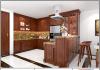 Tủ bếp gỗ tự nhiên chữ U gia đình anh Dược
