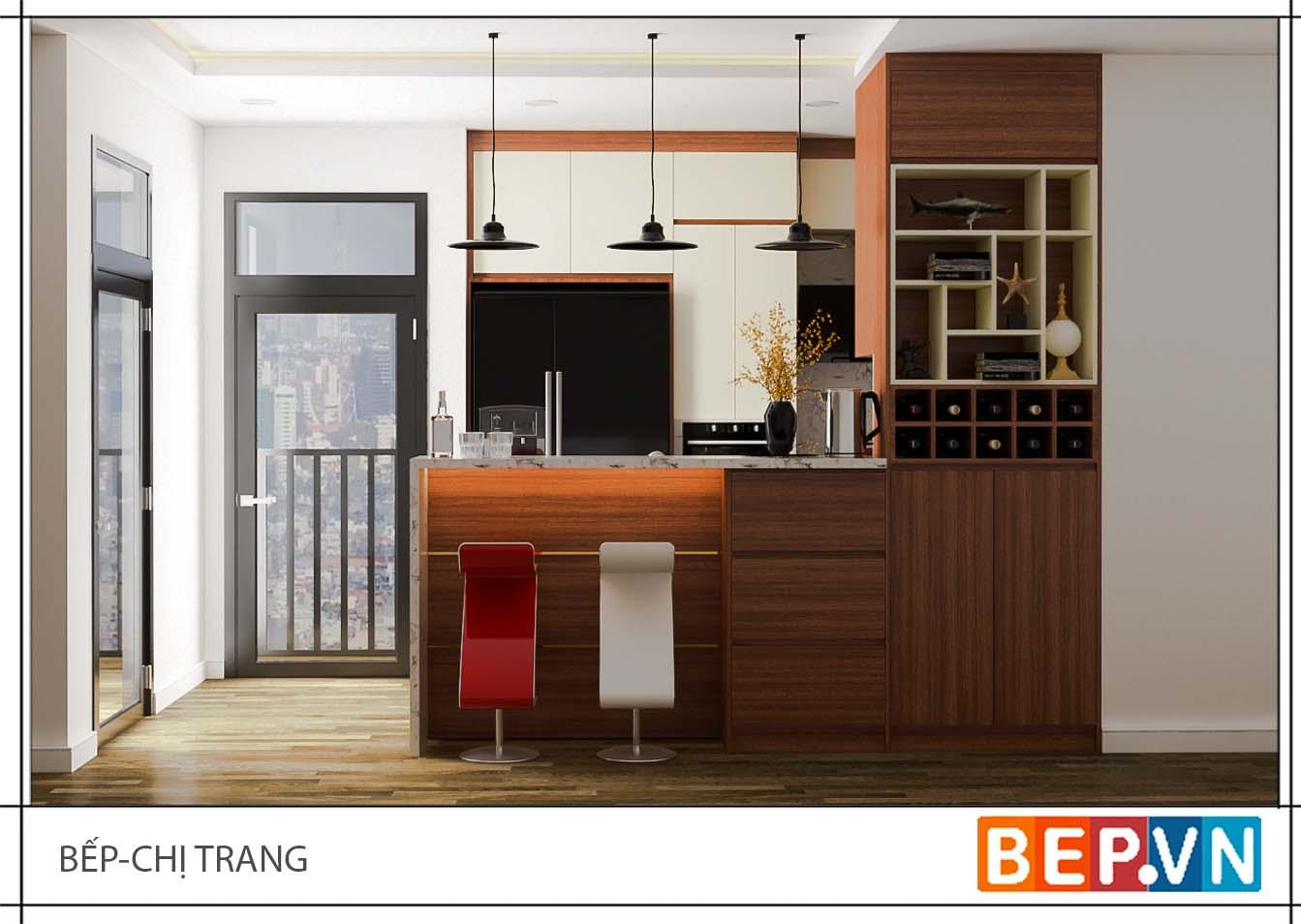 Tủ bếp Laminate phong cách châu âu gia đình chị Trang.
