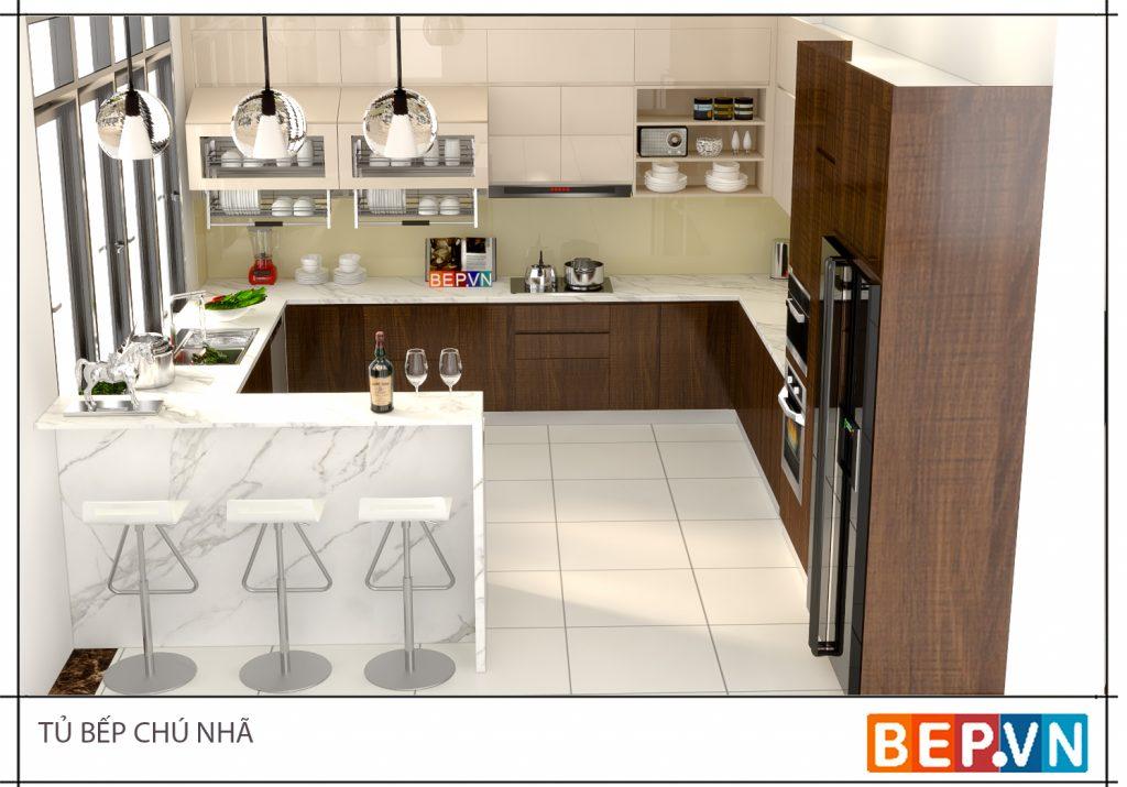 Mẫu tủ bếp Acrylic đẹp có quầy bar hiện đại, tiện dụng cho nhà bếp