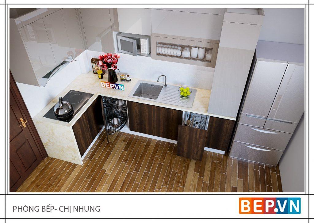 Tủ bếp gỗ công nghiệp thông minh hiện đại gia đình chị Nhung