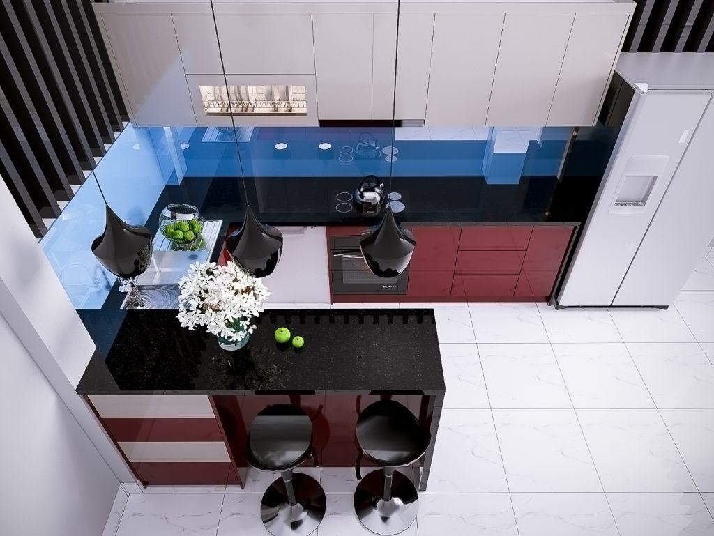 Màu sắc hài hòa nhưng vân tạo được điểm nhấn nổi bật tạo nên tủ bếp thông minh