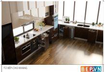 Mẫu tủ bếp đẹp cho không gian rộng.