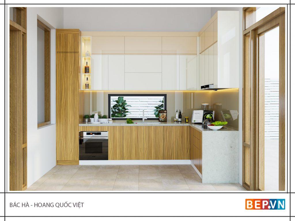Mẫu tủ bếp gỗ đẹp sang trọng cho nhà biệt thự
