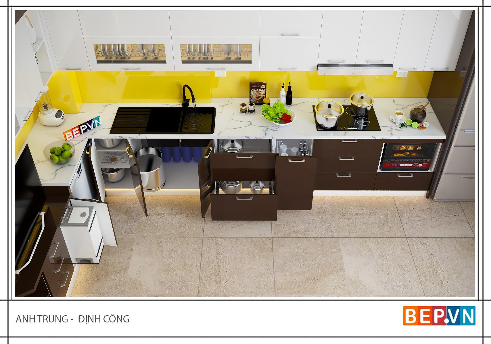 Mẫu tủ bếp gỗ đẹp chữ L đơn giản, hiện đại