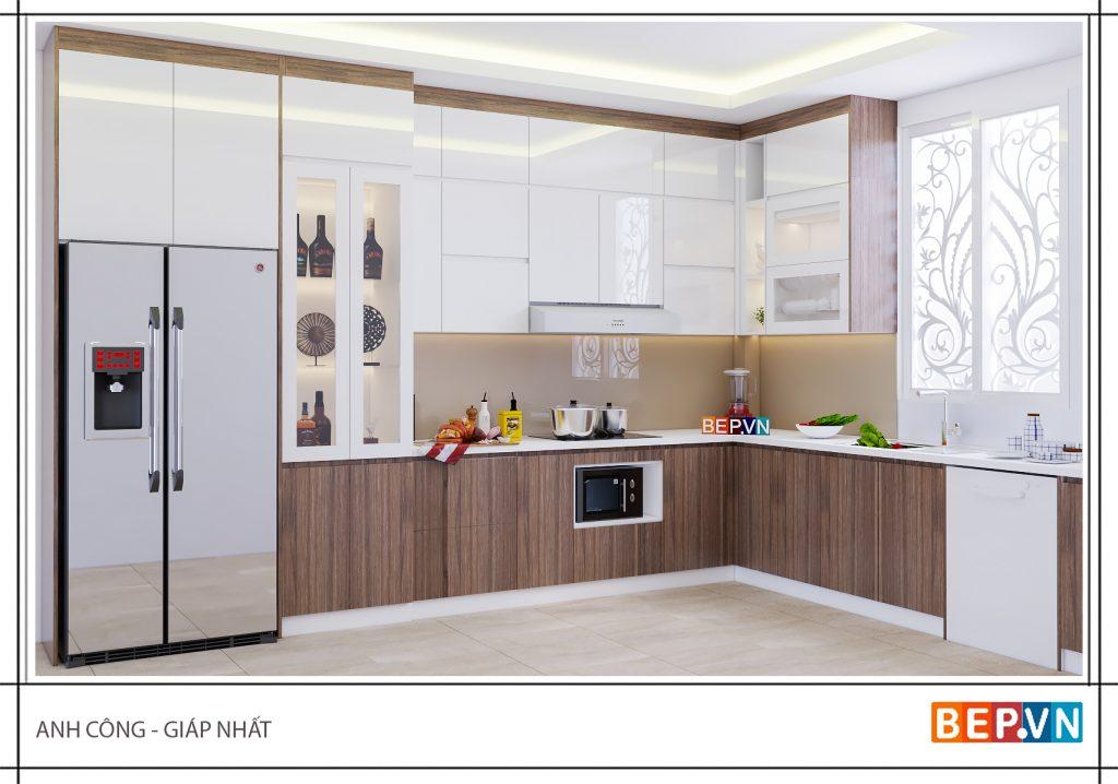 Mẫu tủ bếp hiện đại cho người mệnh Thủy