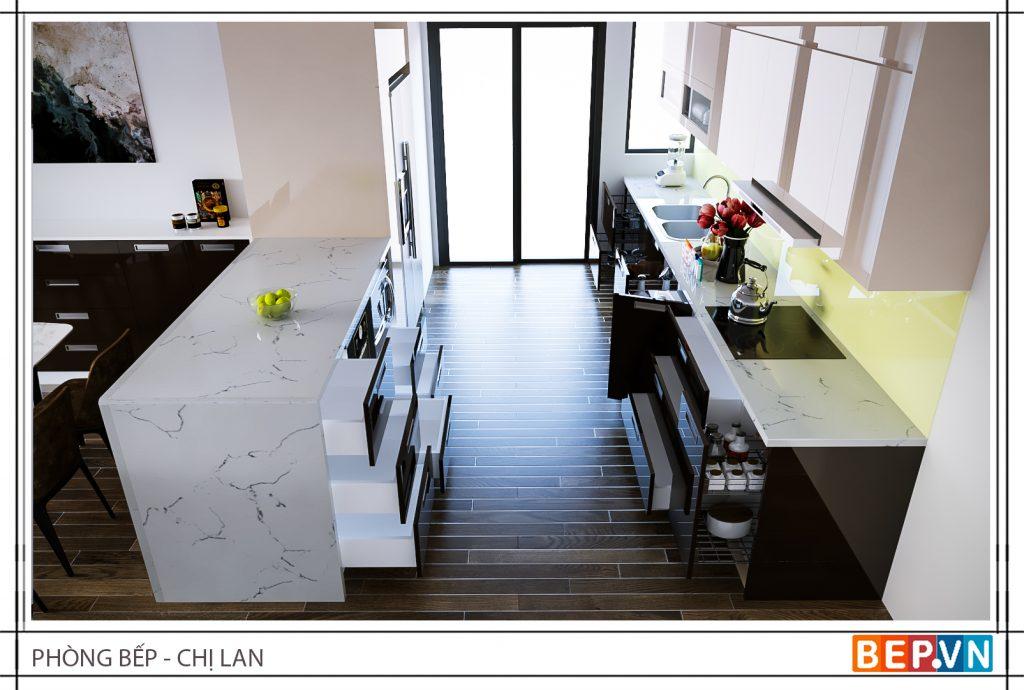 Bàn bếp phù hợp với tổng thể không gian mang lại giá trị thẩm mỹ cao .