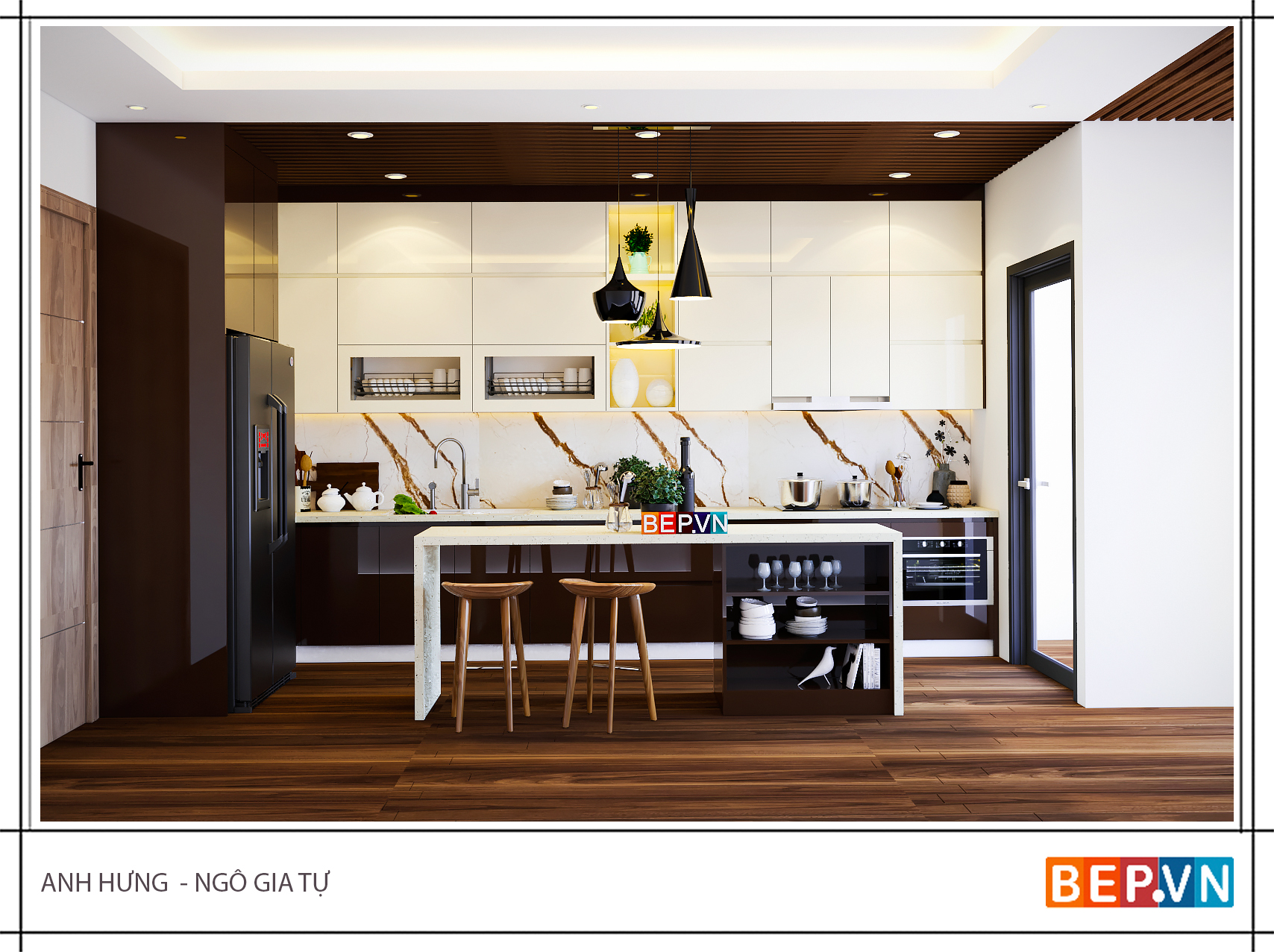 Thiết kế tủ bếp chữ i hiện đại gia đình anh Hưng