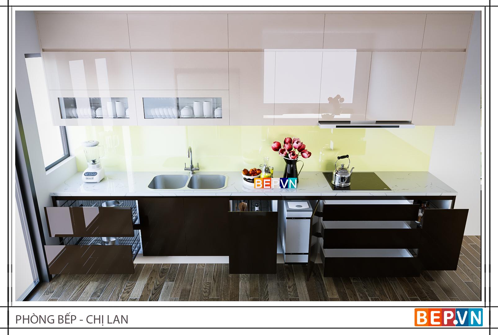 Thiết kế tủ bếp chữ i đẹp hiện đại gia đình chị Lan