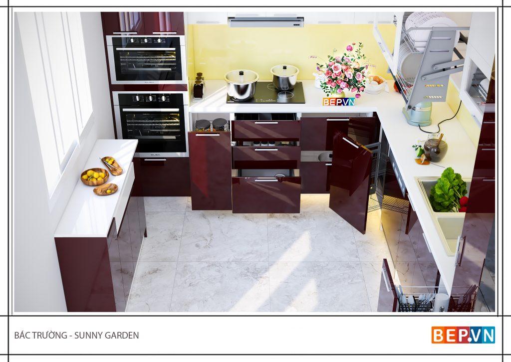 Thiết kế tủ bếp hiện đại gia đình bác Trường