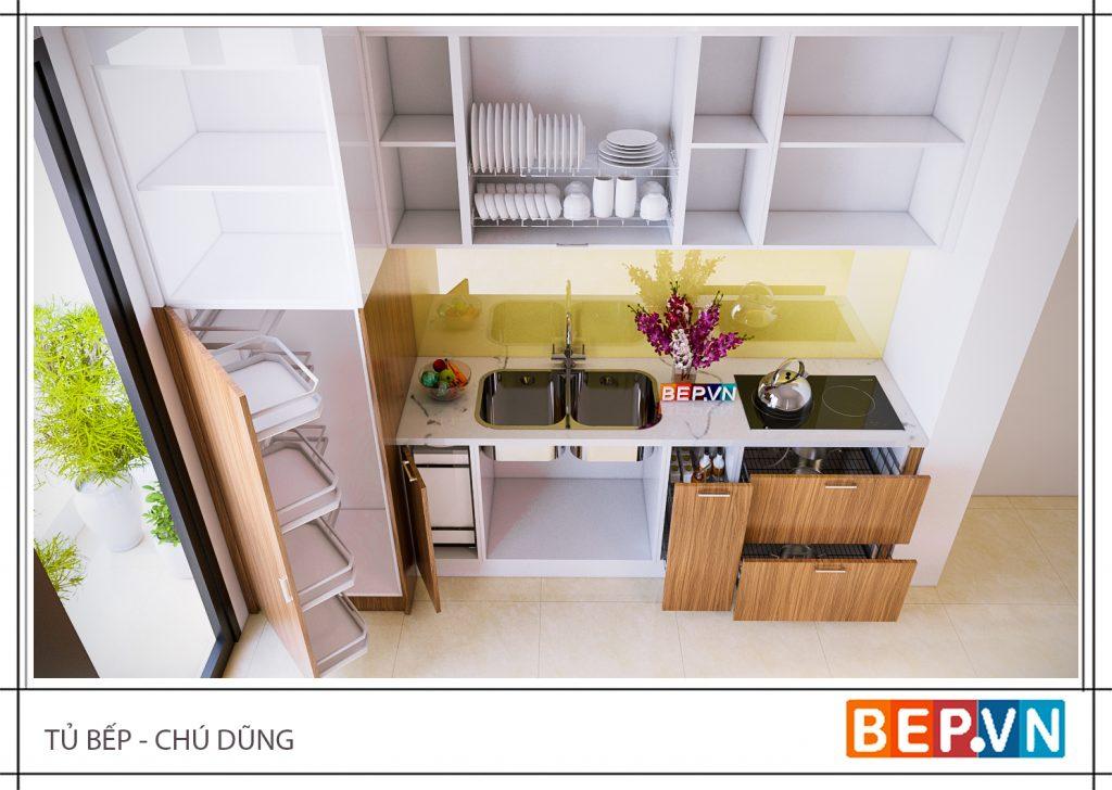 Mẫu tủ bếp nhỏ xinh xắn cho căn nhà hẹp
