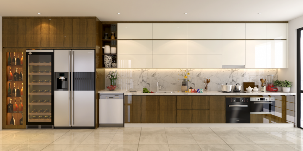Tủ bếp Acrylic nhà chị Hương Mipec