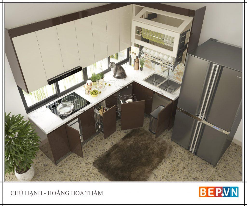 Tủ bếp đẹp hiện đại gia đình chú Hạnh